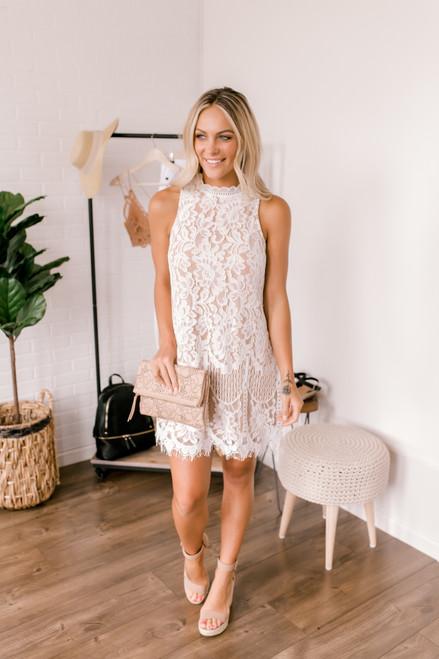 Prosecco Dreams Mock Neck Lace Dress - White/Nude