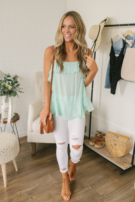 Malibu Views Ruffle Detail Tank - Mint