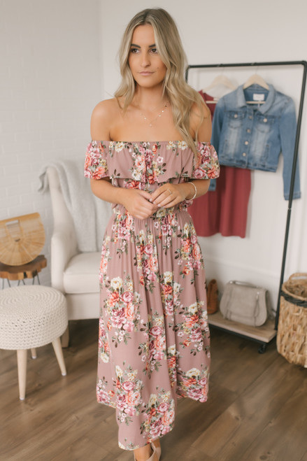 Off the Shoulder Floral Midi Dress - Mocha Multi - FINAL SALE