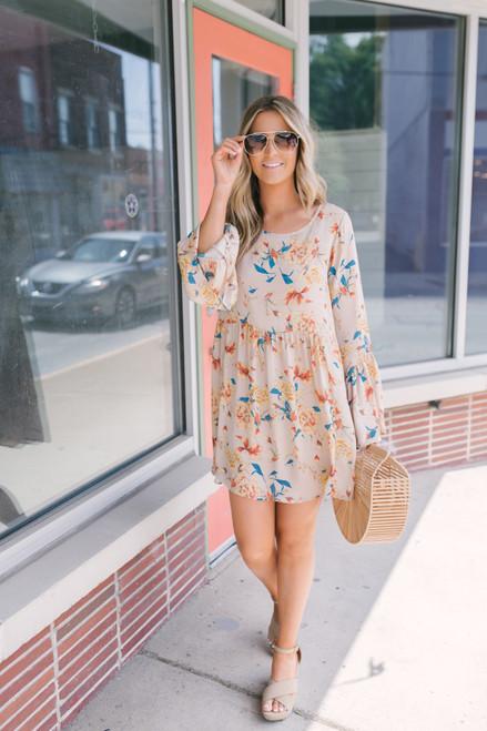 Bell Sleeve Floral Babydoll Dress - Sand Multi - FINAL SALE