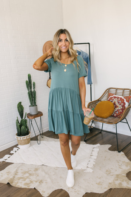 Lace Up Back Tiered T-Shirt Dress - Green