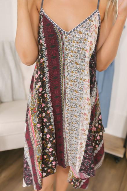 Mixed Print Boho Handkerchief Dress - Charcoal Multi