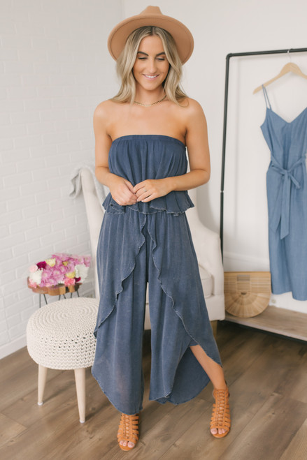 Strapless Vintage Wash Tulip Jumpsuit - Faded Navy