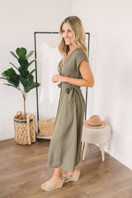 Button Down Side Tie Empire Dress - Olive