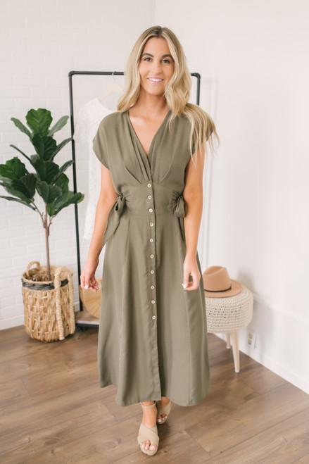808c3a81ba8 Button Down Side Tie Empire Dress - Olive