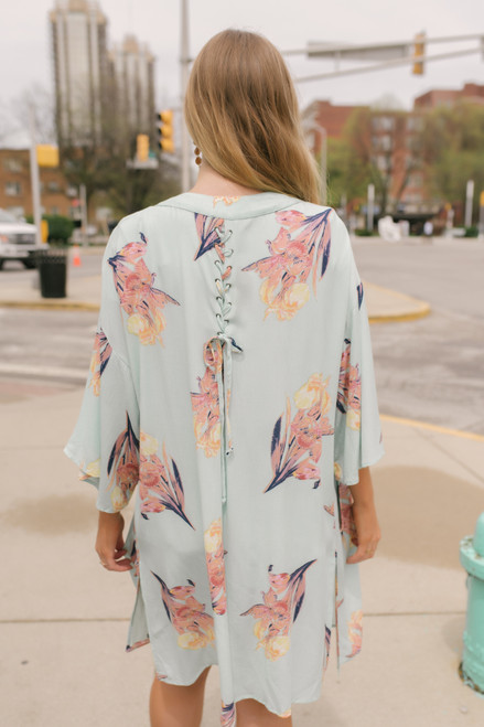 Wild Iris Lace Up Back Kimono - Melon Multi  - FINAL SALE