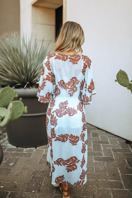 Crochet Detail Printed Duster Kimono - Sky Blue/Burgundy