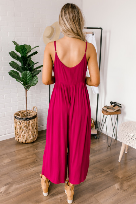 Button Down Cropped Crepe Jumpsuit - Magenta  - FINAL SALE