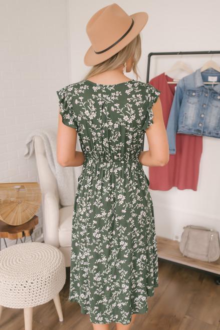 Button Detail Floral Midi Dress - Dark Olive