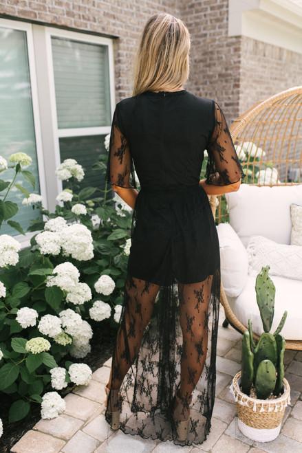 V-Neck Lace Maxi Romper - Black