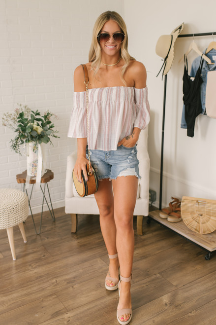 Off the Shoulder Smocked Striped Top - White Multi - FINAL SALE