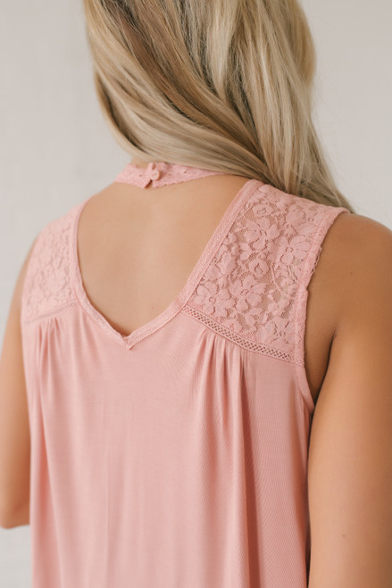 Crochet Detail High Neck Tank - Coral Pink