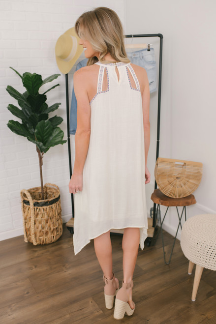 Embroidered Halter Handkerchief Dress - Off White