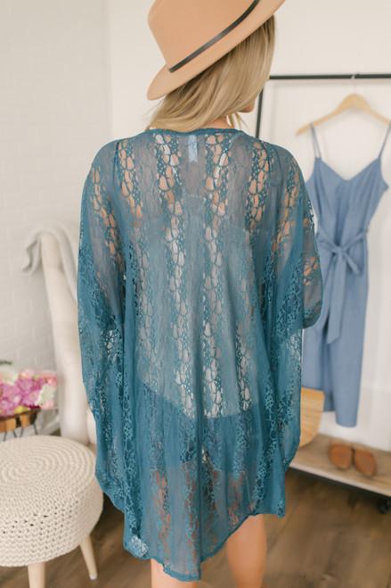 At Nightfall Lace Kimono - Teal