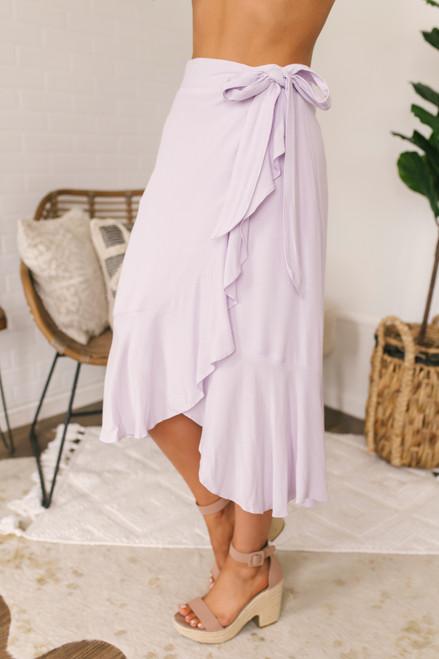 High Low Ruffle Wrap Midi Skirt - Lilac
