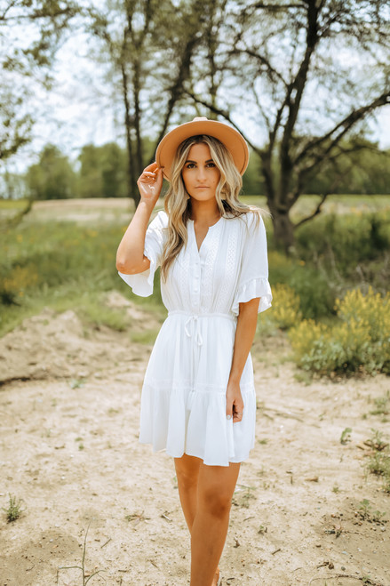 Crochet Detail Button Down Dotted Dress - White