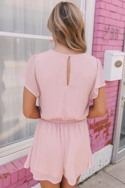 Short Sleeve Surplice Ruffle Romper - Blush