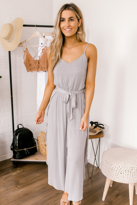 V-Neck Tie Waist Tulip Jumpsuit - Light Grey - FINAL SALE