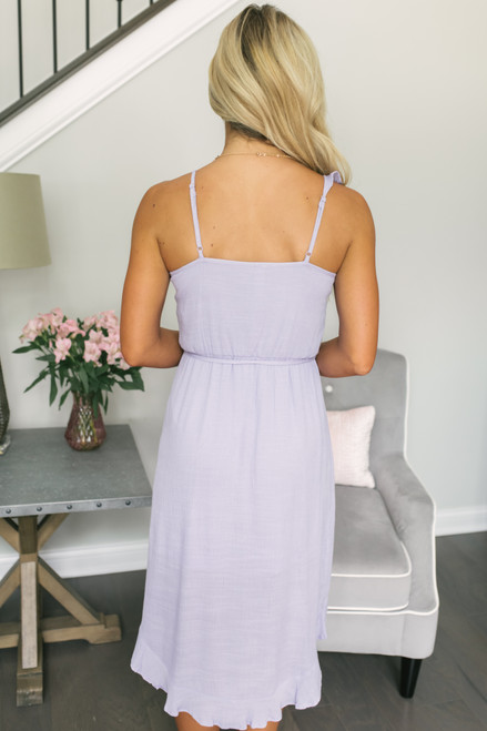 Ruffle Faux Wrap High Low Dress - Lilac  - FINAL SALE