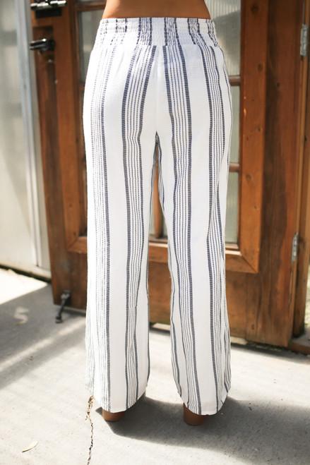 Sadie & Sage Simone Striped Pant - White/Navy