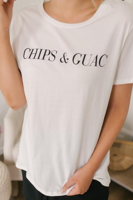 Sadie & Sage Chips & Guac Tee - White