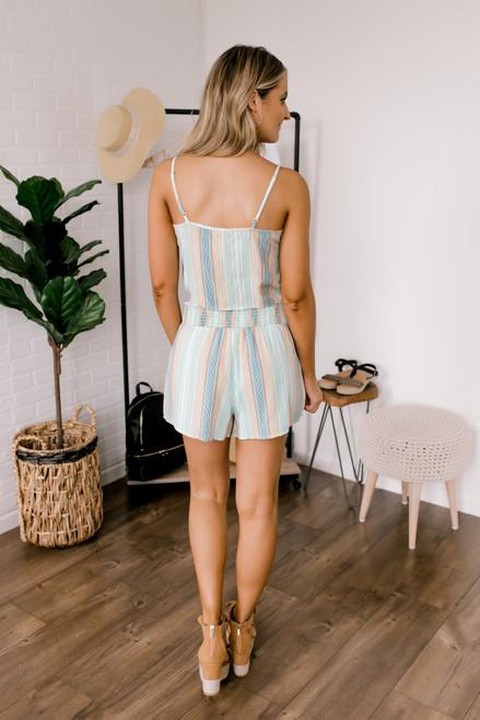 Sadie & Sage Horizon Stripe Shorts - Mint Multi