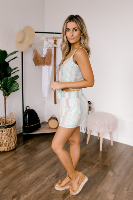 Sadie & Sage Horizon Stripe Shorts - Mint Multi  - FINAL SALE