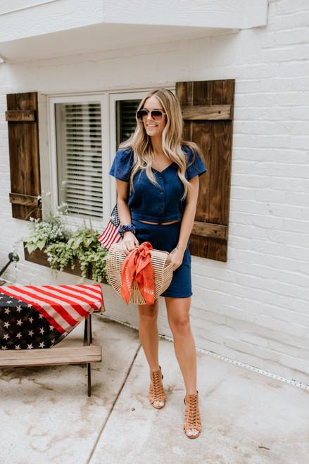 Sadie & Sage Oasis Linen Skirt - Navy - FINAL SALE