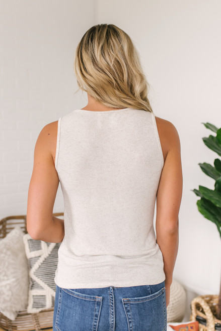 Sadie & Sage Twisted Knot Tank - Natural  - FINAL SALE