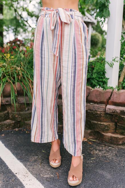 Sadie & Sage Kashmir Striped Paperbag Pants - Rust Multi