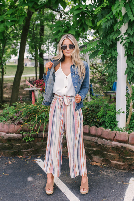 Sadie & Sage Kashmir Striped Pants - Rust Multi  - FINAL SALE