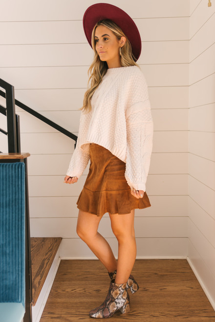 Sadie & Sage Azalea Cable Sweater - Ivory - FINAL SALE