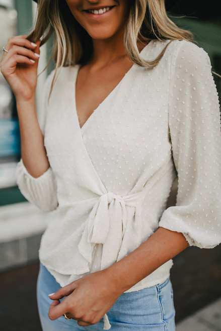 Sadie & Sage Notting Hill Dotted Wrap Top - Cream - FINAL SALE