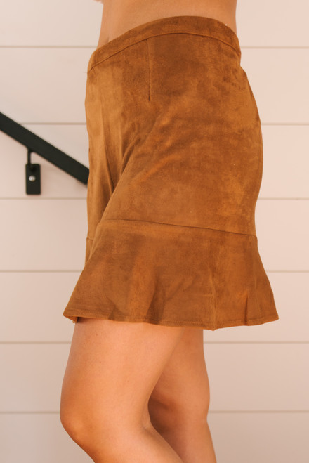Sadie & Sage Ivy Faux Suede Skirt - Camel