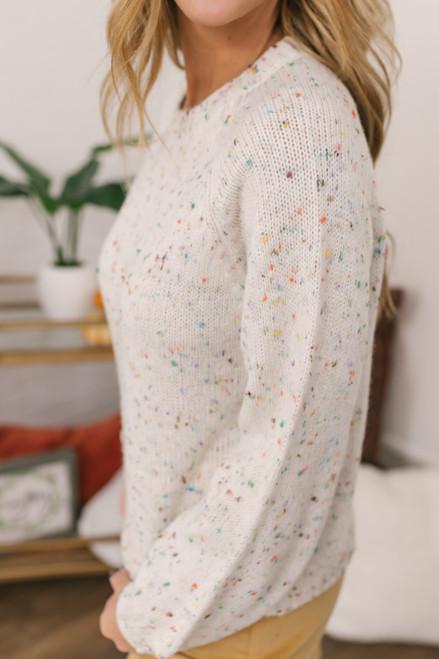 Sadie & Sage East Ender Confetti Sweater - Cream