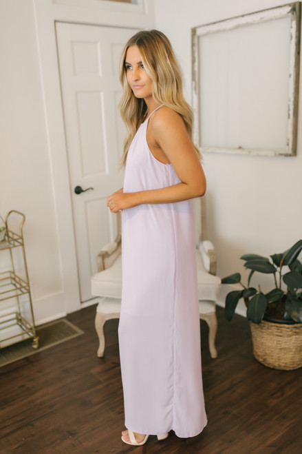 Everly Halter Shift Chiffon Maxi - Lilac - FINAL SALE