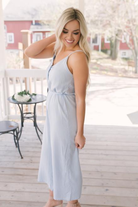 Everly Tie Waist Button Down Jumpsuit - Light Blue  - FINAL SALE