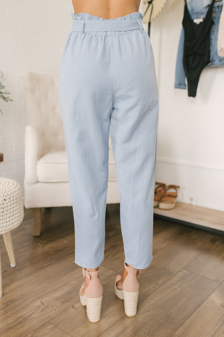 Everly Paperbag Linen Pants - Chambray Blue - FINAL SALE