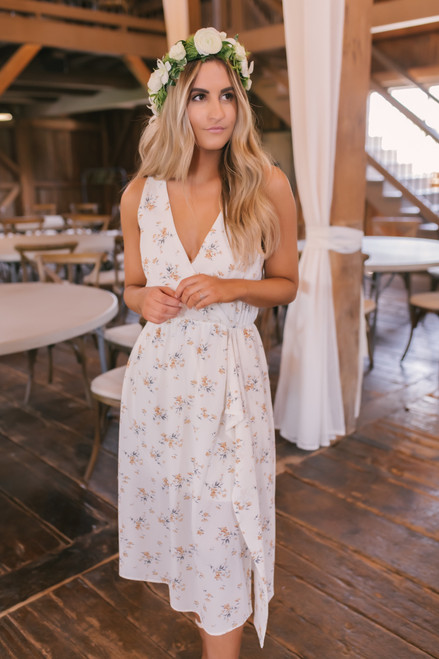 Everly Faux Wrap Floral Midi Dress - Ivory Multi