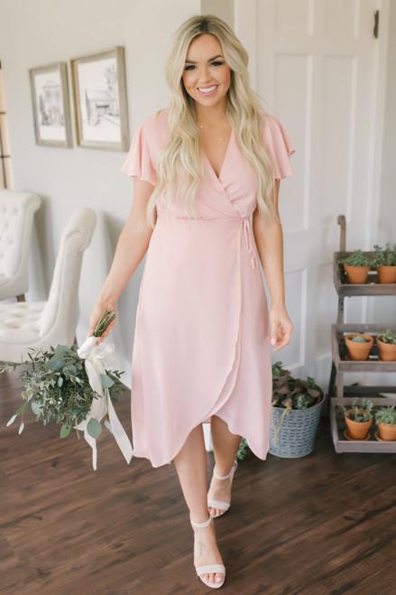 Everly High Low Wrap Midi Dress - Peach