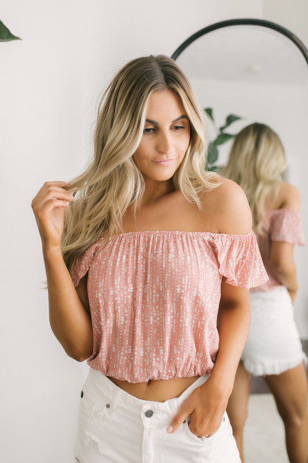 Everly Off the Shoulder Printed Top - Mauve/White - FINAL SALE