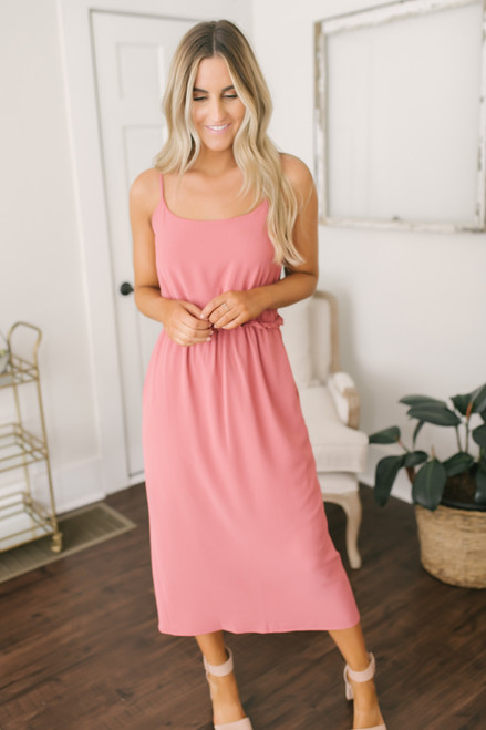 Everly Front Slit Midi Dress - Spiced Coral