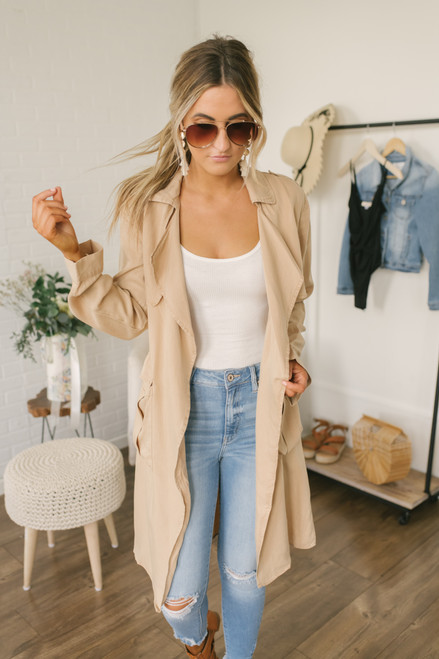Everly Cascading Trench Coat - Camel
