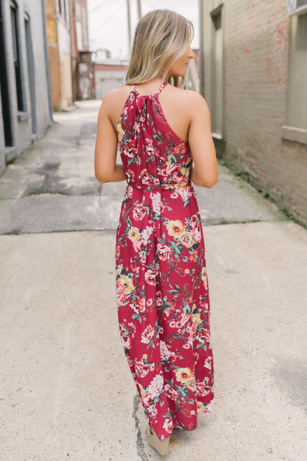 Everly Looking For Love Floral Maxi - Burgundy Berry