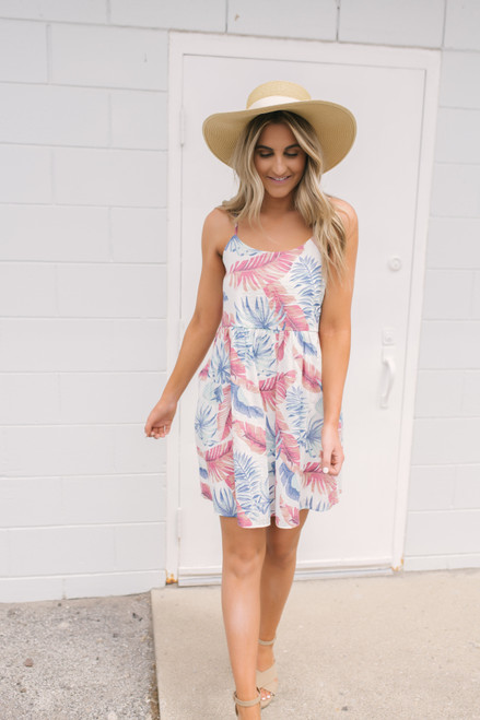 Everly Tropical Oasis Printed Dress - White Multi