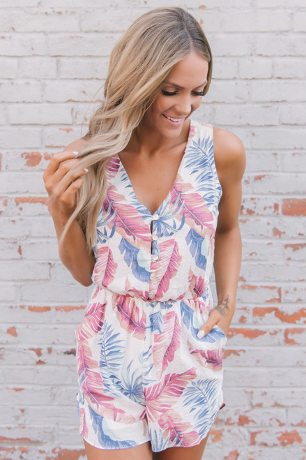 Everly Tropical Oasis Printed Romper - White Multi