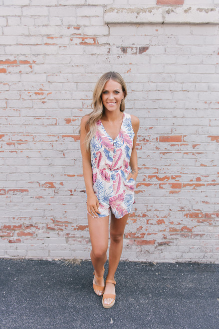 Everly Tropical Oasis Printed Romper - White Multi - FINAL SALE