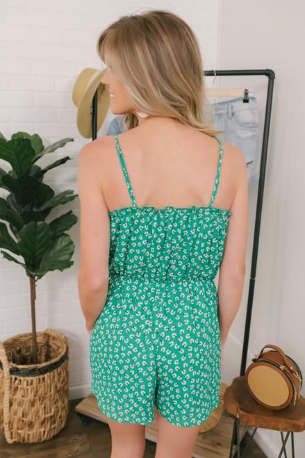 Everly Floral Pocket Romper - Green Multi  - FINAL SALE