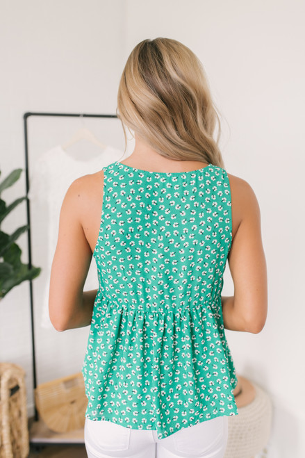Everly V-Neck Floral Babydoll Tank - Green Multi