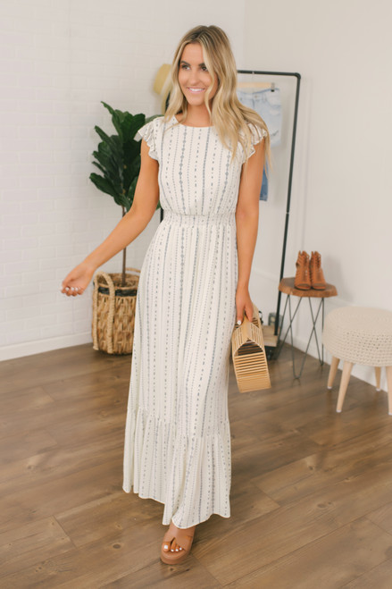 Everly Flutter Sleeve Printed Maxi - Ivory/Navy